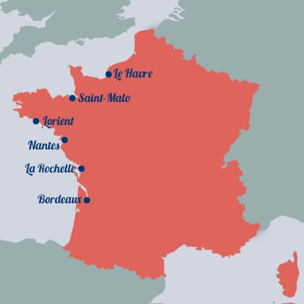 Carte de France de l'esclavage
